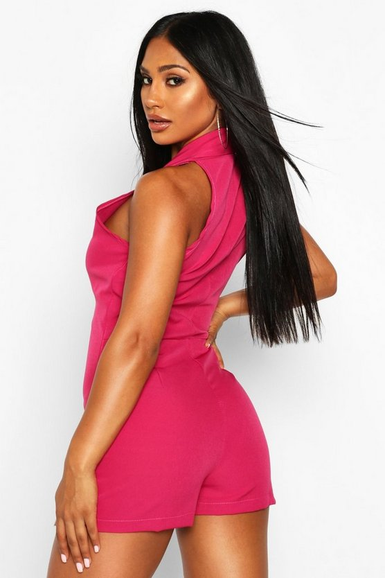 Sleeveless Double Breasted Playsuit