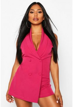 Fuchsia Sleeveless Double Breasted Playsuit