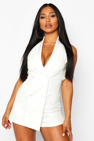 Womens Ivory Sleeveless Double Breasted Playsuit