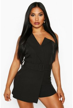 Womens Black Self Belted Strapless Tailored Playsuit