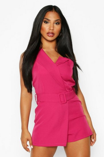 Womens Fuchsia Self Belted Strapless Tailored Playsuit