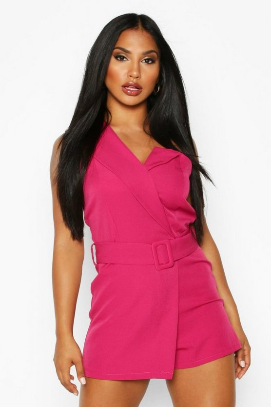 Self Belted Strapless Tailored Playsuit