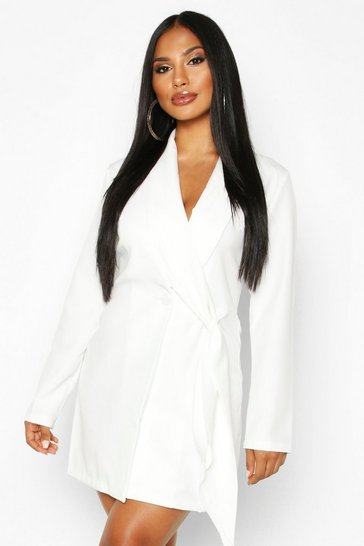 Womens Ivory Wrap Lapel Detail Blazer Dress
