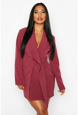 Womens Wine Wrap Lapel Detail Blazer Dress