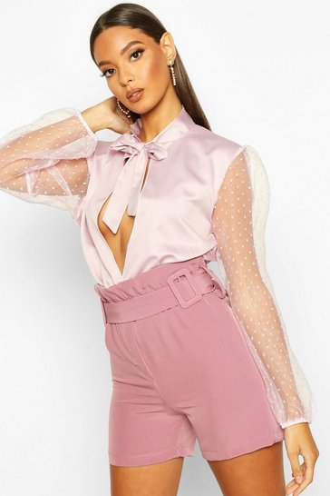Womens Rose Double Buckle Detail Longline Short
