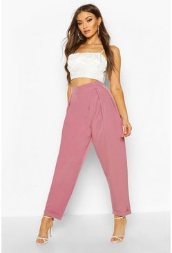 Womens Rose Pleat Detail Wrap Turn Up Tapered Trouser