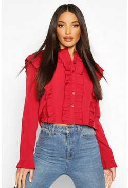 Womens Red Ruffle Long Sleeved Shirt