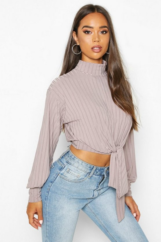 Rib High Neck Tie Front Top