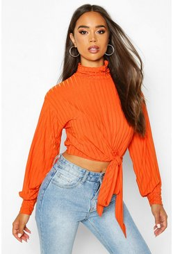 Womens Orange Rib High Neck Tie Front Top