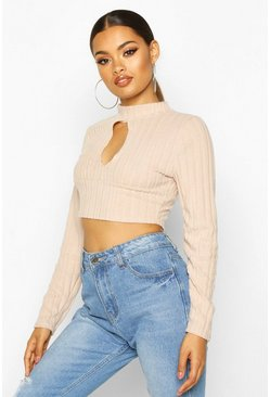 Womens Stone Super Soft Brushed Rib Cut Out Crop