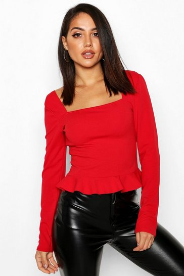 Womens Red Crepe Square Neck Frill Hem Top
