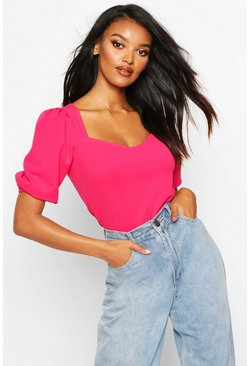 Womens Hot pink Crepe Sweetheart Neck Puff Sleeve Top