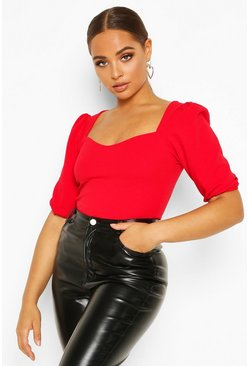Red Crepe Sweetheart Neck Puff Sleeve Top