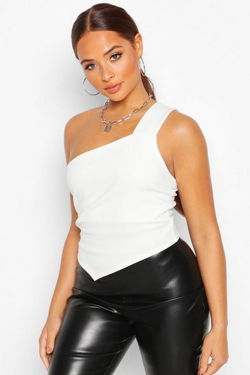 Womens White Crepe One Shoulder Asymmetric Top