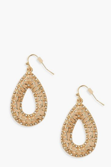Womens Gold Filigree Teardrop Earrings