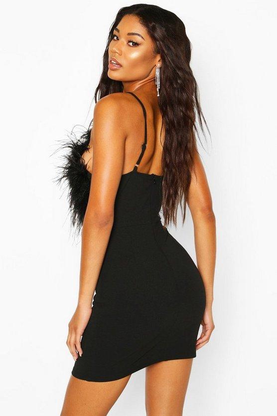 Feather Mini Bodycon Dress