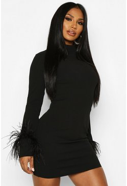Womens Black High Neck Feather Cuff Mini Dress