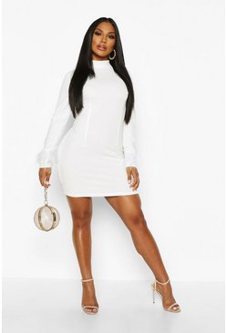Womens White High Neck Feather Cuff Mini Dress