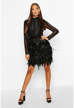 Womens Black High Neck Feather Skirt Mini Dress