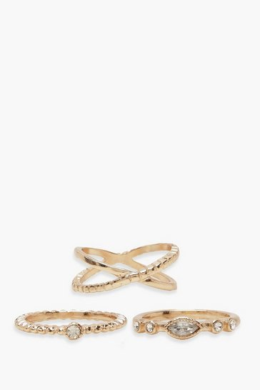 Gold Simple Diamante Ring Pack