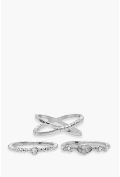 Silver Simple Diamante Ring Pack