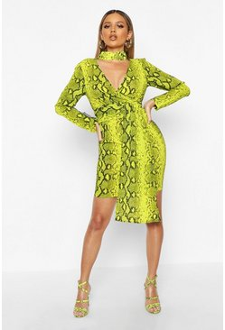 Lime Woven Snake Print Wrap Detail Dress