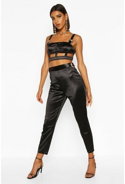 Dam Black Satin Buckle Detail Skinny Touser