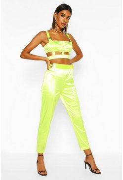 Womens Lime Satin Buckle Detail Skinny Touser