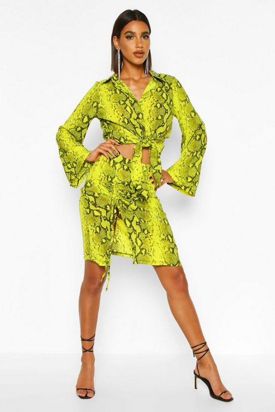 Lime Woven Snake Print Ruched Midi Skirt