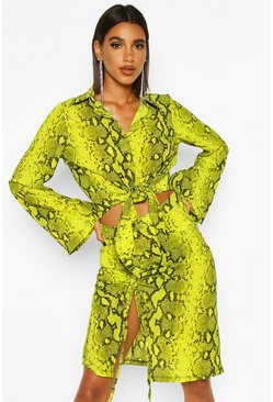 Womens Lime Woven Snake Print Embellished Collar Tie Shirt