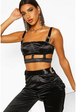 Womens Black Satin Buckle Detail Cut Out Bralet