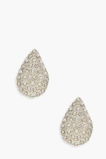 Womens Silver Teardrop Diamante Stud Earrings