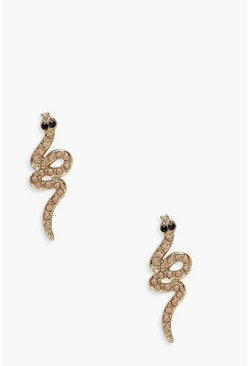 Womens Gold Snake Mini Stud Earrings