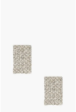 Diamante Curved Stud Earrings, Silver, FEMMES