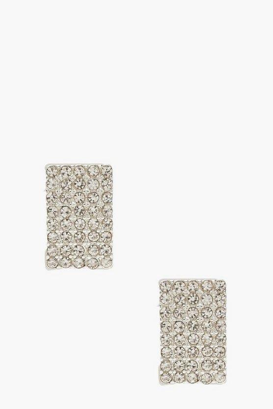 Diamante Curved Stud Earrings