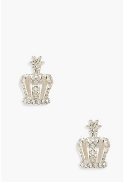 Silver Crown Diamante Stud Earrings