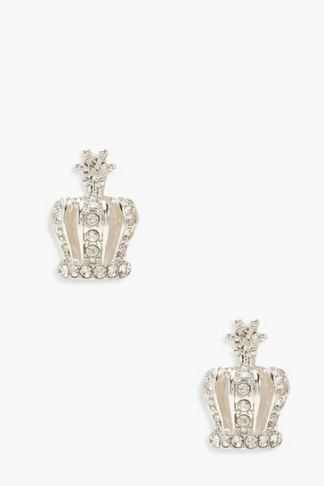 Womens Silver Crown Diamante Stud Earrings