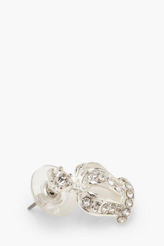 Crown Diamante Stud Earrings