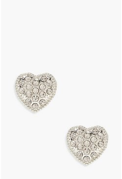 Womens Silver Diamante Heart Stud Earrings