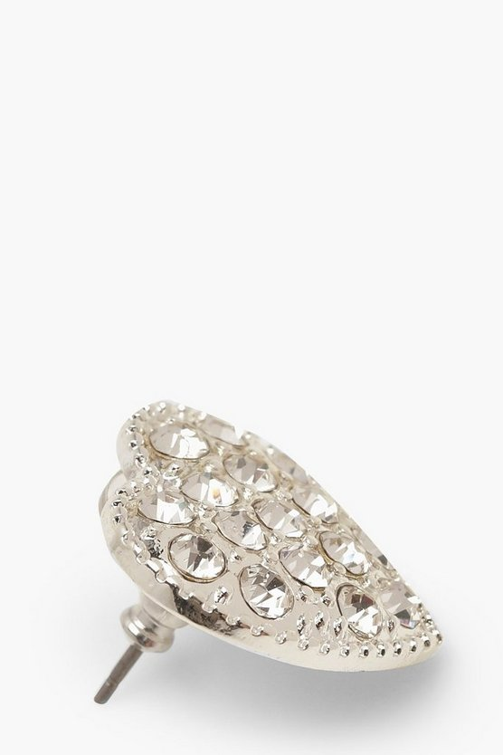 Diamante Heart Stud Earrings