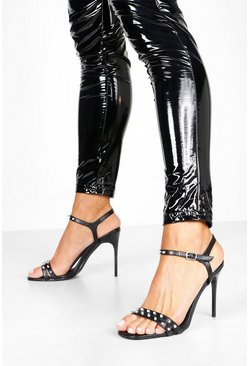 Womens Black Studded Stiletto Heel Two Parts