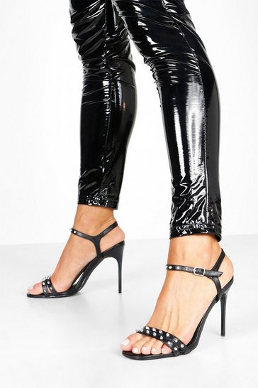 Black Studded Stiletto Heel Two Parts