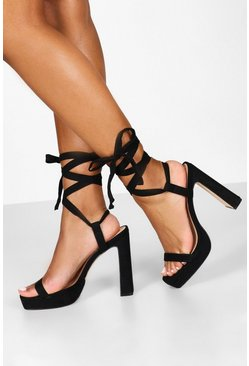 Womens Black Flat Heel Wrap Strap Platforms