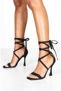 Black Flare Heel Wrap Ankle 2 Parts