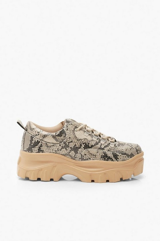 Wide Fit Snake Chunky Trainers