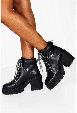 Black Wide Fit Chunky Lace Up Hiker Boots