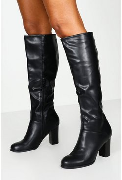 Womens Black Wide Fit Block Heel Knee Boots