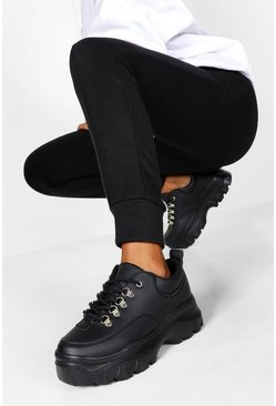 Dam Black Wide Fit Chunky Trainers