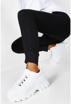 Womens White Wide Fit Chunky Trainers