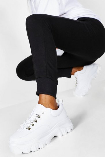 Womens White Wide Fit Chunky Trrainers